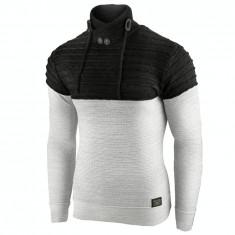 Pulover pentru barbati negru guler inalt flex fit casual Alaska Ironman