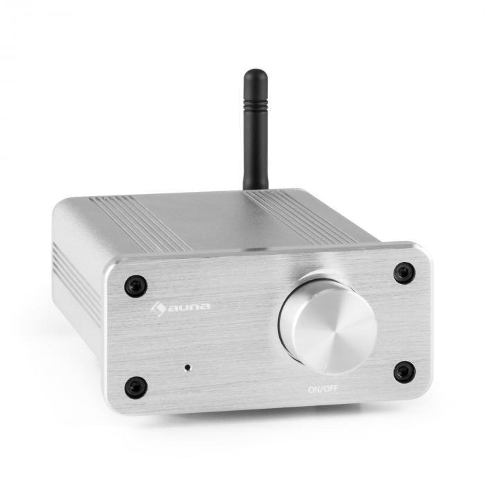 Auna BT-Bro Mini Stereo argint aluminiu Amplificator de clasă D Bluetooth