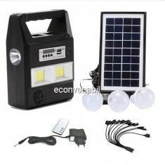 Kit Solar Lanterna LED Radio FM USB 3 Becuri 6V4Ah GDPlus GD8216