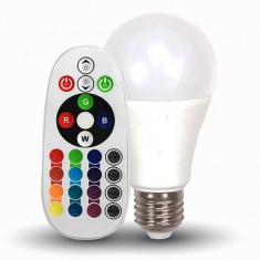 Bec LED RGB, soclu E27, 470 lm, 6400 K, alb rece, telecomanda inclusa