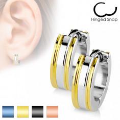Cumpara ieftin Cercei din oțel inoxidabil în culoare argintie - dungi pe contur - Culoare: Auriu