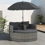 VidaXL Canapea de grădină cu 2 locuri cu perne & umbrelă gri poliratan