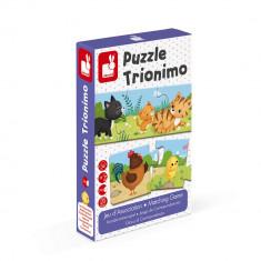 Puzzle trionimo - Joc de potrivire - Animale si copiii lor - 30 de piese, Janod J02710