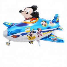 Balon folie Avion Mickey- 80x45cm mare albastru happy birthday, Disney