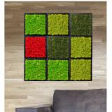 Tablou licheni Artflora Uni GreenLime MDF Alb 25CM