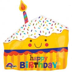 Balon Mini Figurina Felie de tort, umflat + bat si rozeta, Amscan 30819