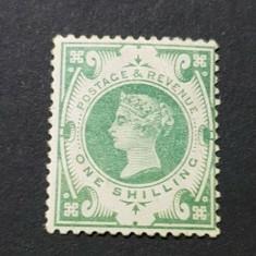 159-GB-ANGLIA=1887-Regina VICTORIA One Shiling verde,SG211,Mi 97,nestampilat