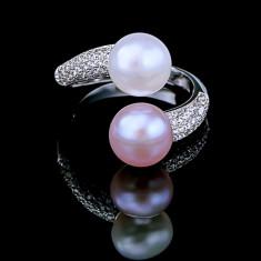 Inel din Argint 925 cu Perle Naturale si Diamante, Raffaella Purple & White