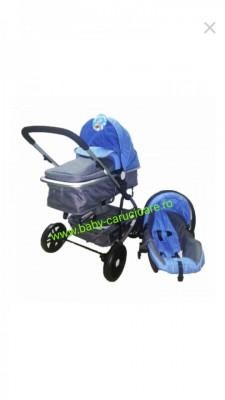 Cărucior nou născut 3 in 1 Baby Care YK 18-19 Albastru cu gri foto