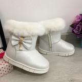 Cizme albe cu fundita imblanite de iarna fete copii din piele eco 22