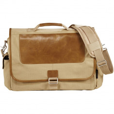 Geanta de Postas/Laptop, Field & Co by AleXer, CE, 17 inch, panza, bumbac si piele ecologica, bej, breloc inclus