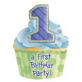 Invitatii de petrecere 1st birthday baietel, Amscan 493898 , Set 8 buc