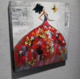 Superb tablou culori vibrante efect 3D- FEMEIE CU ROCHIE FLUTURI - panza-