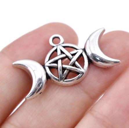 Pandantiv argint tibetan FAZELE LUNII CU PENTAGRAMA, talisman zeita lunii, luna
