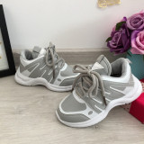 Adidasi foarte usori gri cu alb pantofi sport copii baieti fete 26
