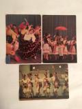 Lot 3 vederi vechi cu dansuri traditionale populare; calusari, dans tiganesc ..., Circulata, Printata