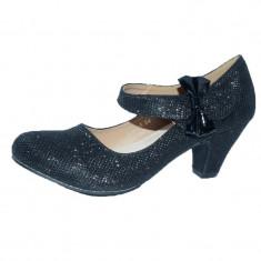 Pantofi cu toc pentru fetite Miss Q F6622-25, Negru