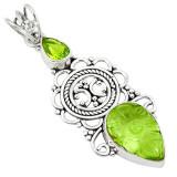 Pandantiv bijuterie din argint 925 cu ametist verde sculptat si perlidot