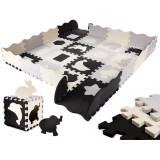 Covor puzzle cu laterale 36 piese Ikonka IK17565Negru/Gri/Bej