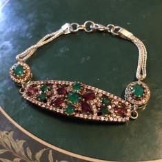 BRATARA High Quality Hurem Sultan 925 Silver Smaralde Rubine lung 20cm