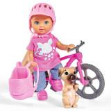 Cumpara ieftin Papusa Simba Evi Love 12 cm Holiday Bike cu bicicleta si catelus