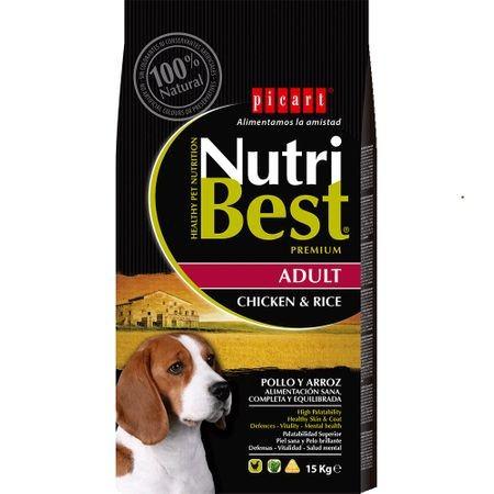 Hrana uscata pentru caini cu pui si orez, Nutribest Dog Premium Adult, 15 Kg
