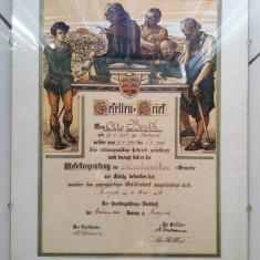 Scrisoare diploma certificat vechi calificare Germania meserie mecanic 1926