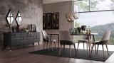 Cumpara ieftin Set de mobila dining din pal, 8 piese Diamond Nuc / Grafit