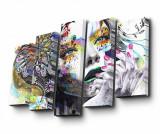 Cumpara ieftin Set 5 tablouri Floral Face Art - Art Five, Multicolor