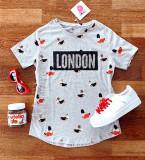 Tricou dama ieftin gri cu maneca scurta si imprimeu LONDON