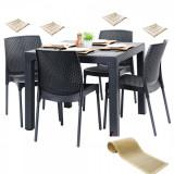 Mobilier exterior TILIVICHE masa patrata CLASSI RATAN 90x90x75cm 4 scaune SUNNY RATTAN polipropilen/fibra sticla culoare cafea,4 perne scaun,Traversa