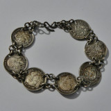 Bratara vintage din argint cu banuti argint(11174)