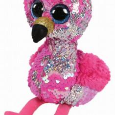 Jucarie de plus TY Boos Flamingo roz cu paiete 24 cm