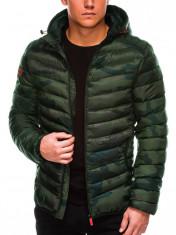 Geaca pentru barbati, camuflaj-verde, impermeabila, fermoar, model slim, gluga fixa - c368 foto