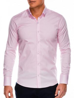 Camasa slim fit barbati K504 - roz foto