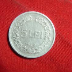 Moneda 5 lei 1949 RPR aluminiu , cal. F.Buna