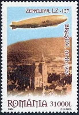 ROMANIA 2004 ZEPPELIN LZ127  Zbor deasupra Brasovului Serie 1 val. MNH** LP 1652 foto