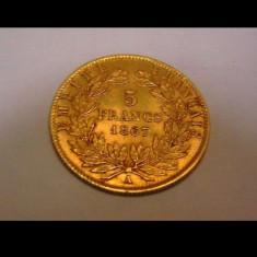 Moneda aur-Franța - 5 Francs 1867-A Napoleon III - Aur