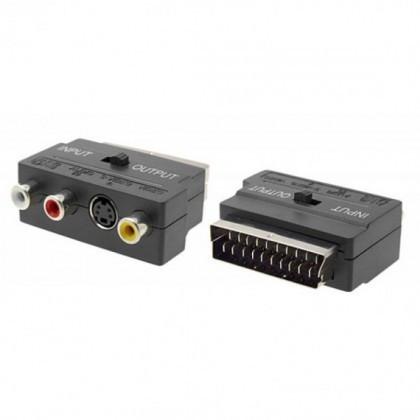 Adaptor Video S-Video, RCA la SCART 17111 Negru