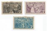 România, lot 200 cu 3 timbre fiscale locale, Bucureşti, Ateneul Român, MH/MNH