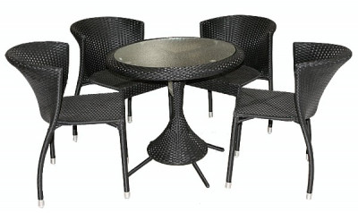 Set mobilier gradina,terasa RAKI KAROLINA din ratan 5 piese, masa rotunda si 4 scaune foto