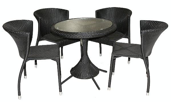 Set mobilier gradina,terasa RAKI KAROLINA din ratan 5 piese, masa rotunda si 4 scaune