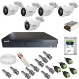 Kit complet de supraveghere 5 camere Acvil AHD EF30 4K 8 MP IR 20 m 2.8 mm +DVR AHD Acvil XVR5108FHD 8 canale 5 Mp + Hard Disk Seagate Skyhawk ST1000V