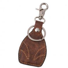 Breloc cu carabina si inel pentru chei, Everestus, WS01, piele, aliaj de zinc, maro