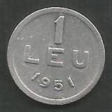 ROMANIA   1  LEU  1951  [3]    livrare  in  cartonas, Aluminiu