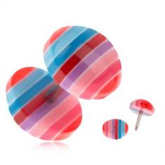 Plug fals pentru ureche, din acrilic - dungi albastre, roşii şi roz
