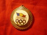 Breloc vechi Olimpic - Romania , d=3,3cm , metal si email