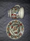 Farfurie si cana(olcica)Lut Mare,veche HANUL ANCUTEI-ROMANIA,vase lut Comuniste