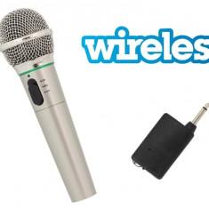 Microfon Wireless/Fir, lungime cablu 3m pentru karaoke, argintiu
