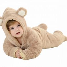 Pijama intreaga Kigurumi Onesie, model ursulet, lungime 80cm, culoare maro